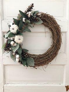 Handmade Fall Farmhouse wreath for neutral lovers! Handmade Fall Farmhouse wreath for neutral lovers! Diy Fall Wreath, Fall Diy, Fall Wreaths, Wreath Ideas, White Wreath, Blue Christmas Decor, Christmas Decorations, Christmas Wreaths, Farmhouse Fall Wreath