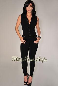 Black Button Front Jumpsuit. Denim JumpsuitBlack JumpsuitBodysuit FashionHot  Miami StylesBlack ButtonSkirt OutfitsDress ... e96ee4ed6