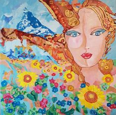 Zermatt, Princess Zelda, Illustration, Artwork, Fictional Characters, Linen Fabric, Flowers, Paint, Work Of Art