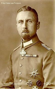 Prince Oskar of Prussia (1888--1958), 5th son of Kaiser Wilhelm II.  Oskar served with distinction in WWI, receiving the Iron Cross 1st and 2nd Class and 2 Wound Badges.  After his family lost power in 1918, Oskar, like his brothers, supported Hitler in hopes of a restoration, but later opposed the Nazis.  Prince Oskar married and had 4 children.  He died of cancer in 1958.