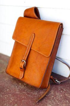 Men's Crossbody Backpack men's laptop bag brown by TrimGoTrix, $400.00