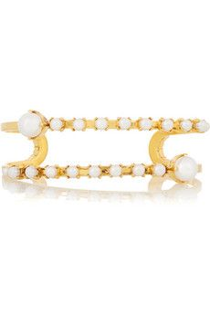 Erickson Beamon Pearly Queen gold-plated faux pearl cuff | NET-A-PORTER