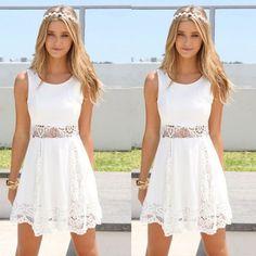 Chiffon Dress O-Neck Sleeveless Strap Vestido De Renda Tunic Waist Lace Dress Elegant Short Dress Moda Praia A13 Cc #Affiliate