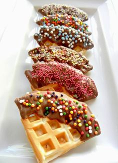 Sugar Swings! Serve Some: Pink Beignet Waffles with Sprinkles