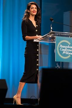 Amal Missed Eugenie's Wedding to Speak at a Women's Conference Older Women Fashion, Black Women Fashion, Womens Fashion, Boss Lady, Girl Boss, Conference Outfit, Understanding Women, Hollywood Couples, Chic Dress