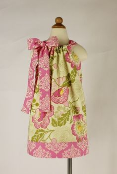 Childrens Pink Floral Pillowcase Dress Damask by SarahRoseBoutique, $25.00