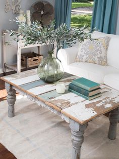 If a piece of furniture, like a coffee or end table, has seen better days, transform it with a fresh coat of paint or stain. A high-gloss paint treatment is a great choice for a contemporary space, or try a distressed treatment, like the one designer Joanna Gaines used in this cottage-style living room.