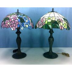 Stain Glass Table Lamps with Floral  Shades