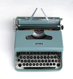 Vintage Blue Olivetti Underwood Typewriter. Bring back the old fashioned love letter on one of these! #vintahe #typewriter