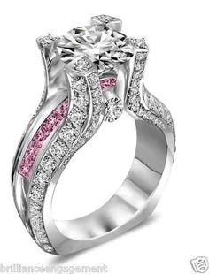 3.25 TCW ROUND GIA & PINK DIAMOND ENGAGEMENT RING 18K; l ..omg I love this