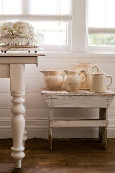 White on white, ceramic ale and milk jugs