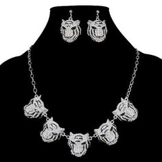H Quality 5 Tiger Necklace Earring Set Rhinestone Crystal Clear Animal | eBay