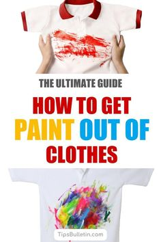 Discover the secrets of how to get paint out of clothes with simple techniques and everyday products. These simple methods for removing paint stains from shirts and other fabrics use products like rubbing alcohol and nail polish remover. Stain On Clothes, Painted Clothes, Diy Cleaning Products, Cleaning Hacks, Organizing Tips, Organization Ideas, Removing Paint, Clean Hairbrush, Laundry Detergent Recipe