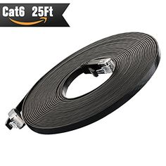 Ethernet Cable Cat 6 25ft at Cat5e Price but Higher Bandwidth Network Cable Cat6  Ethernet Patch Cable  Computer Internet Cable With Snagless RJ45 Connectors  Enjoy High Speed Surfing  Black * Be sure to check out this awesome product.Note:It is affiliate link to Amazon.