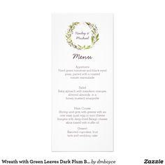 Wreath with Green Leaves Dark Plum Berries Menu