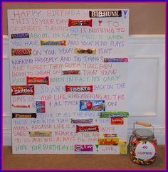 candy bar poem   Happy Birthday to YOU ♫ / 40th Birthday candy bar ...