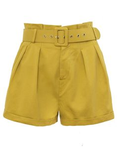 Mustard Paperbag Waist Belted Shorts Made by us cotton Length Model is wearing a size small and model's height is Casual Skirt Outfits, Stage Outfits, Cute Summer Outfits, Retro Outfits, Short Outfits, Cute Outfits, Denim Fashion, Fashion Outfits, Gay Outfit