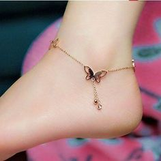 Anklet Jewelry Butterfly Ankle Bracelet, Summer Beach Jewelry, Butterfly Anklet - This butterfly ankle bracelet is an adorable piece of summer jewelry. Perfect for a summer party or vacation. Can be made in silver or gold. Rose Gold Anklet, Silver Anklets, Silver Ring, Silver Earrings, Silver Bracelets, Jewelry Bracelets, Diamond Earrings, Jewlery, Beach Bracelets