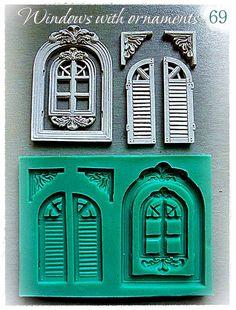Fenster mit Ornamenten...  Silikon-Mould 69 von MouldsGalia auf Etsy