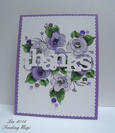 Purple Posies Thank You card by Lin (Altenew Painted Flowers)