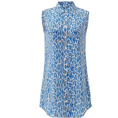 Rental Equipment Cheetah Slim Signature Dress ($50) ❤ liked on Polyvore featuring dresses, cheetah print dress, cheetah dress, sleeveless dress, equipment dress and blue cheetah print dress