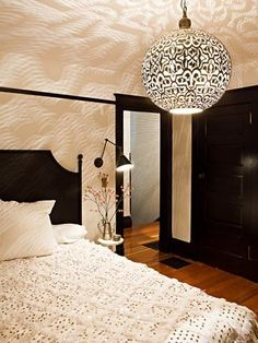 Shadow dance; interior design by Jessica Helgerson #bedroom #lighting