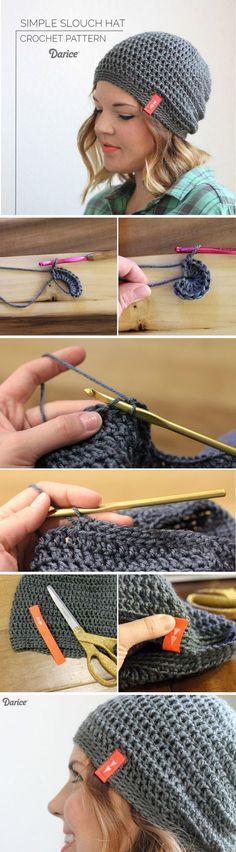Simple Slouch Crochet Hat Pattern.