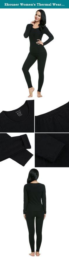 4af21aab613 Ekouaer Women s Thermal Wear Winter Long Johns Pajama Set Sleepwear Plus  Size(Black