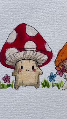 Indie Drawings, Cool Art Drawings, Easy Drawings, Drawing Sketches, Arte Indie, Indie Art, Art Sur Toile, Hippie Painting, Mushroom Art