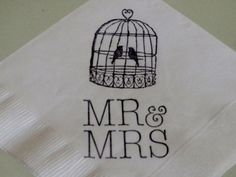 White Love Bird Cage Mr and Mrs Wedding Cocktail Napkins - Set of 50 on Etsy, $15.00