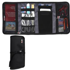 BUBM New Wrap Electronics Accessories Travel Organizer, Fit iPhone 6s, 4 Folder, Black
