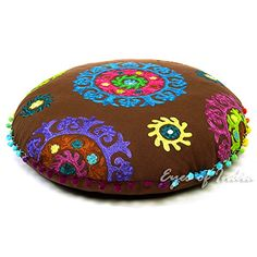 "EYES OF INDIA - 24"" BROWN ROUND SUZANI FLOOR PILLOW CUSHION COVER MEDITATION Bohemian Decorative Eyes of India http://www.amazon.com/dp/B00KOV35QG/ref=cm_sw_r_pi_dp_roc0vb182E385"