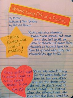 writing long off of a post-it- great for extending a reading response!