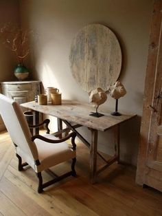 these vintage wooden pieces can be repurposed many ways.the table is a desk/dining table/ entry table, sofa table for example. -via Belgian Pearls Belgian Pearls, Belgian Style, Aging Wood, Wood Wall Decor, Beautiful Interiors, Living Spaces, Work Spaces, Living Room, Decor Styles