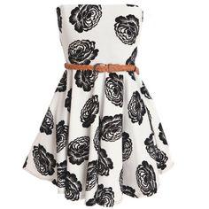 Club L Women's Bandeaux Skater Monochrome Floral Dress - White/Black found on Polyvore