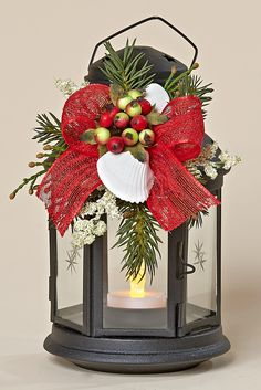 "8"" Black Metal Lantern, Removable Decor with Winter Berries, White Shells, Red Bow"