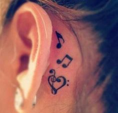 Music tattoo behind the ear - 60 Awesome Music Tattoo Designs <3 !