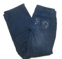 Christopher & Banks Blue Jeans 6 Petite Dark Wash Rhinestones Pockets Womens #ChristopherBanks #StraightLeg