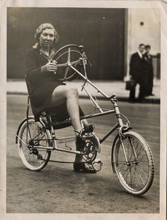 The picture below shows her on a Velocar derived French recumbent bike called a 'Velostable' that is beginning to look more like a tour-easy.