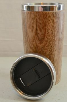 Wooden travel mug with stainless steel insert and sliding - Travel mug stainless steel interior ...