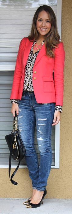 J's Everyday Fashion - Leopard blouse, destroyed jeans, pink blazer.