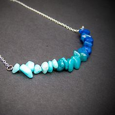 Ombre Necklace, Ombre Jewelry, Ombre, Statement Necklace, Blue Necklace, Light Blue, Teal, Delicate, Necklace, Jewelry