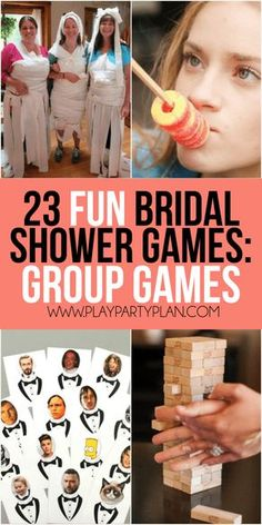 23 more funny bridal shower games that don't suck including everything from games for couples, interactive games for large groups, and even a bunch of free printable bridal shower games! So many of these would be hilarious for a co-ed shower or for bride to learn more about the groom. Definitely a bunch of the best unique bridal shower games.
