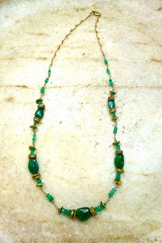 Emerald with Gold Handmade Necklace