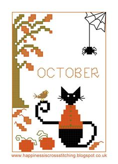 Happiness is Cross Stitching : Friday Freebie - October Mini Cat for Halloween and Free Think Pink Gift Tags