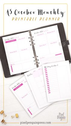 Get your October in order with the help of this A5 monthly planner insert with 4 color options included! This insert makes perfect traveler's notebooks as well as ring binder inserts. Weekly planner pages will get you in ship shape for October. As a part of our monthly planner printable collection, it fits right in line with all previous and future months traveler's notebook inserts.