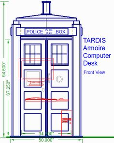 Armoire Computer Desk designed after the TARDIS, front view with doors closed