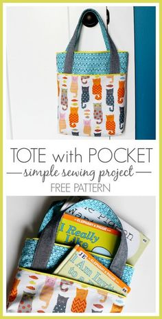 Pocket Tote, Library Bag - simple sewing project idea with a FREE pattern! Love this one! Every needs more bags, great gift idea as well -- Sugar Bee Crafts