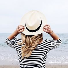 Stripe and fedora hat style / trend