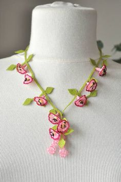 OYA Silk Needle Lace Necklace, Hand made Turkish lace (igne oya) necklace with pink and violet red flowers.